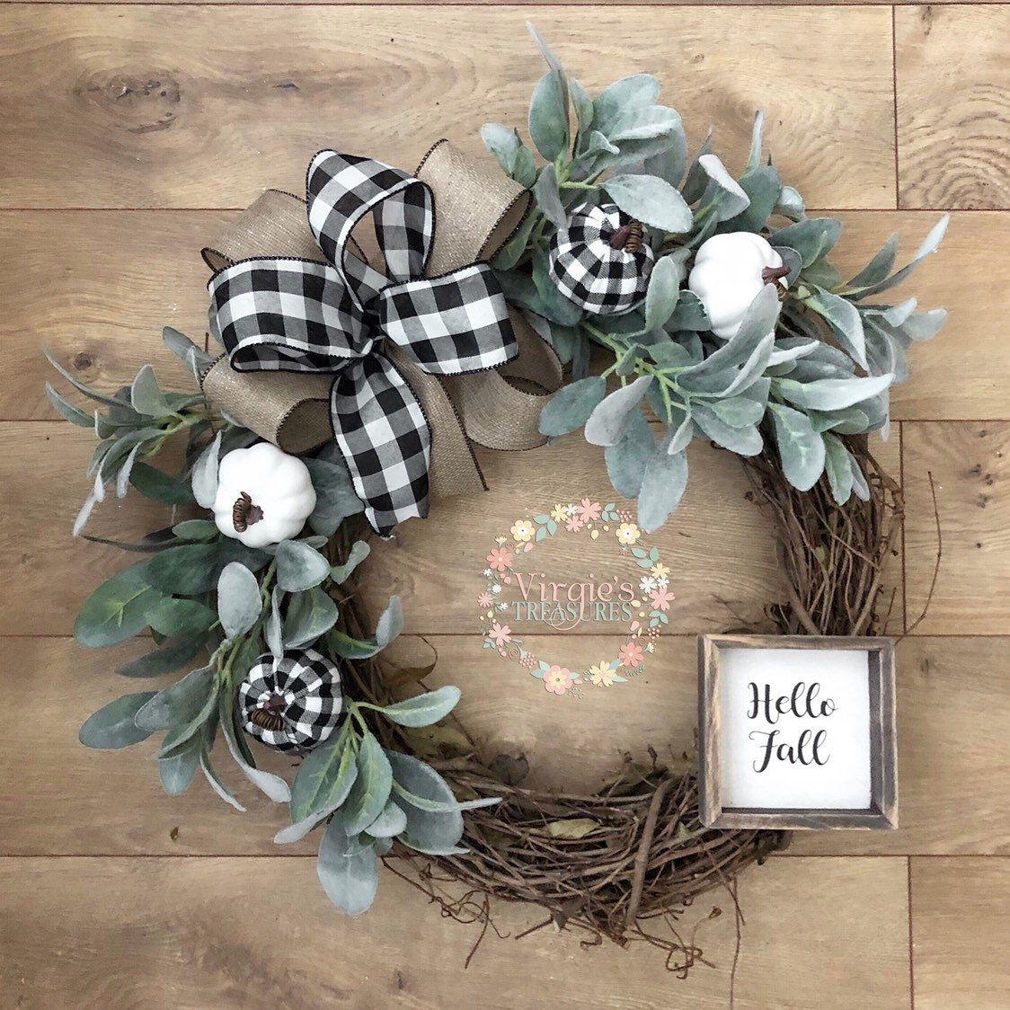 Photo of Fall Pumpkin Wreath with Lamb Ears, Faux Lamb Ears Wreath, Farmhouse Wreath, Front Door Wreath, Fall Wreath, Buffalo Plaid