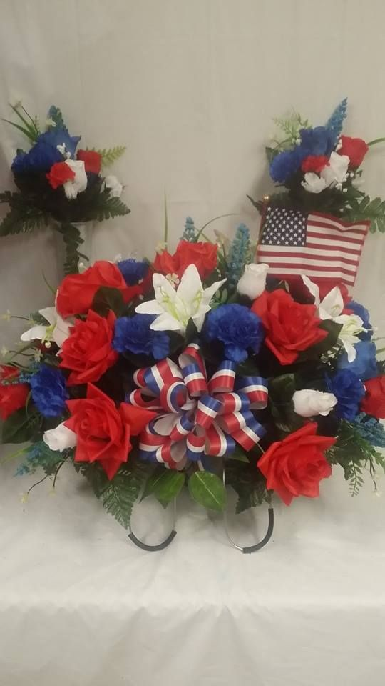 Red White Blue Memorial Saddle Grave Decorations Memorial Flowers Flower Arrangements