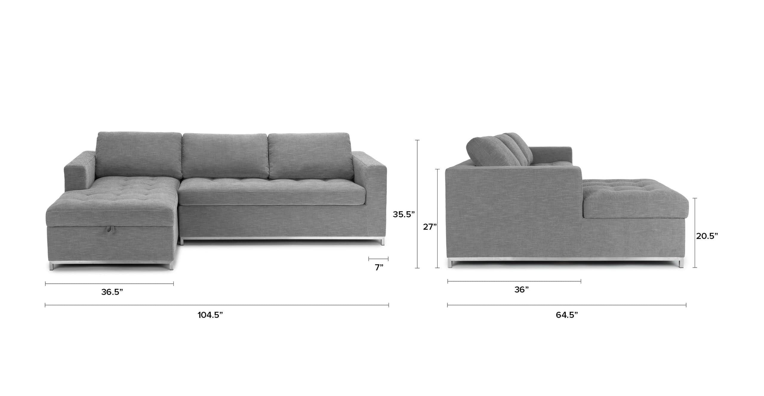 Gray Sofa Bed Left Sectional Metal Legs Article Soma Modern