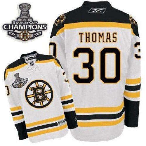 da8fd995c6f Boston Bruins Tim Thomas 30 White Authentic NHL Jersey Sale