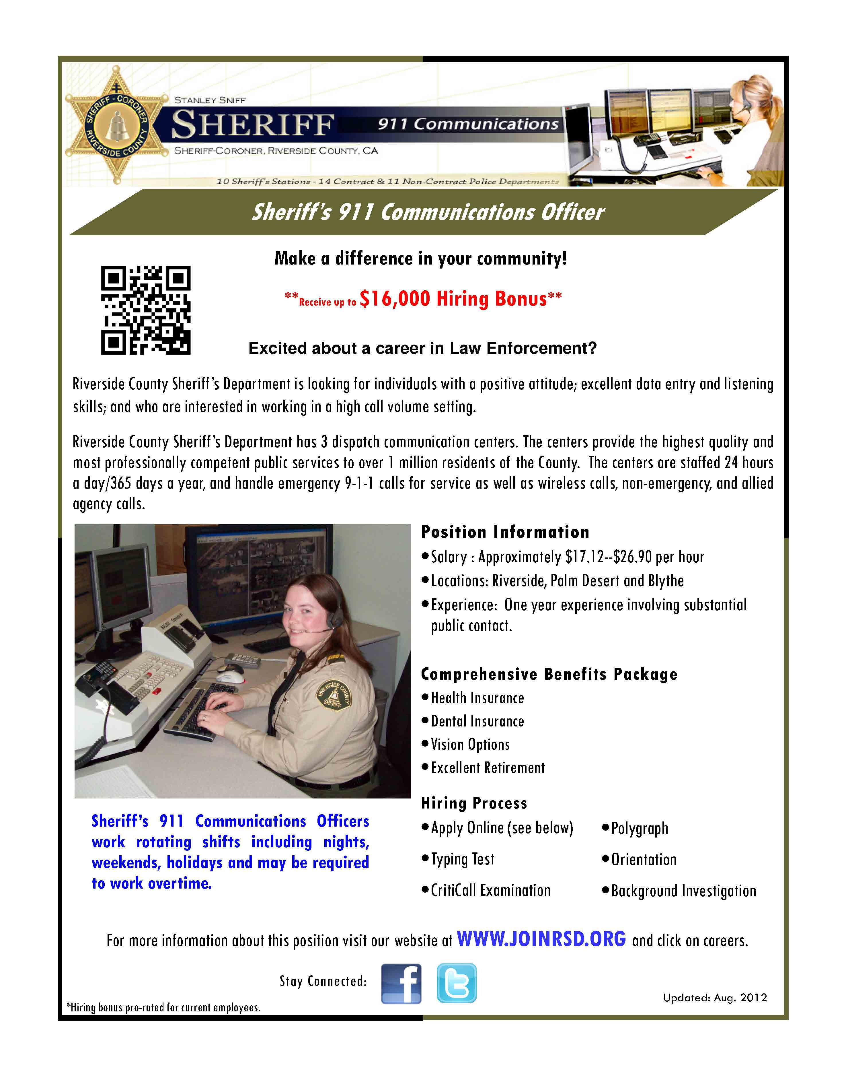 Sheriff S Communications Officer I Job Openings Riverside