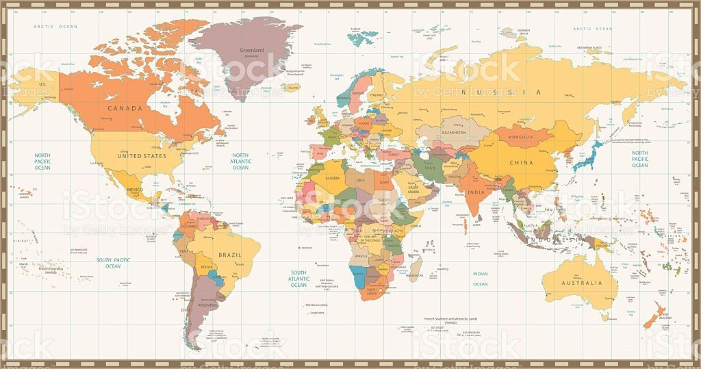 Old retro color political world map all elements are separated in old retro color political world map all elements are separated in gumiabroncs Gallery