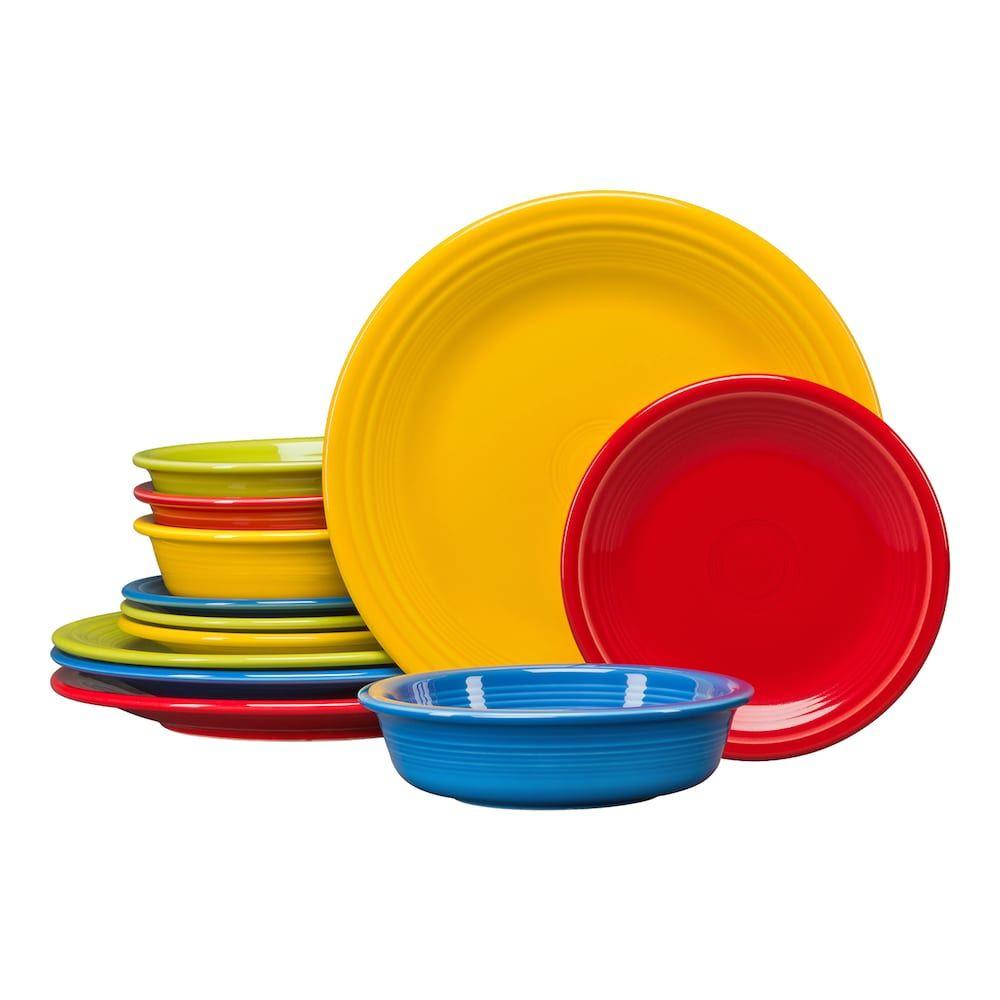 Fiesta Classic Colors 12 Piece Dinnerware Set Classic Dinnerware Colorful Dinnerware Red Dinnerware Set