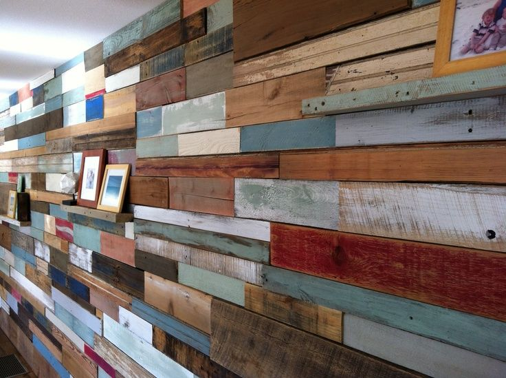 Wood Wall Installation Using Reclaimed From Old Pallets Wainscoting Taken Barns