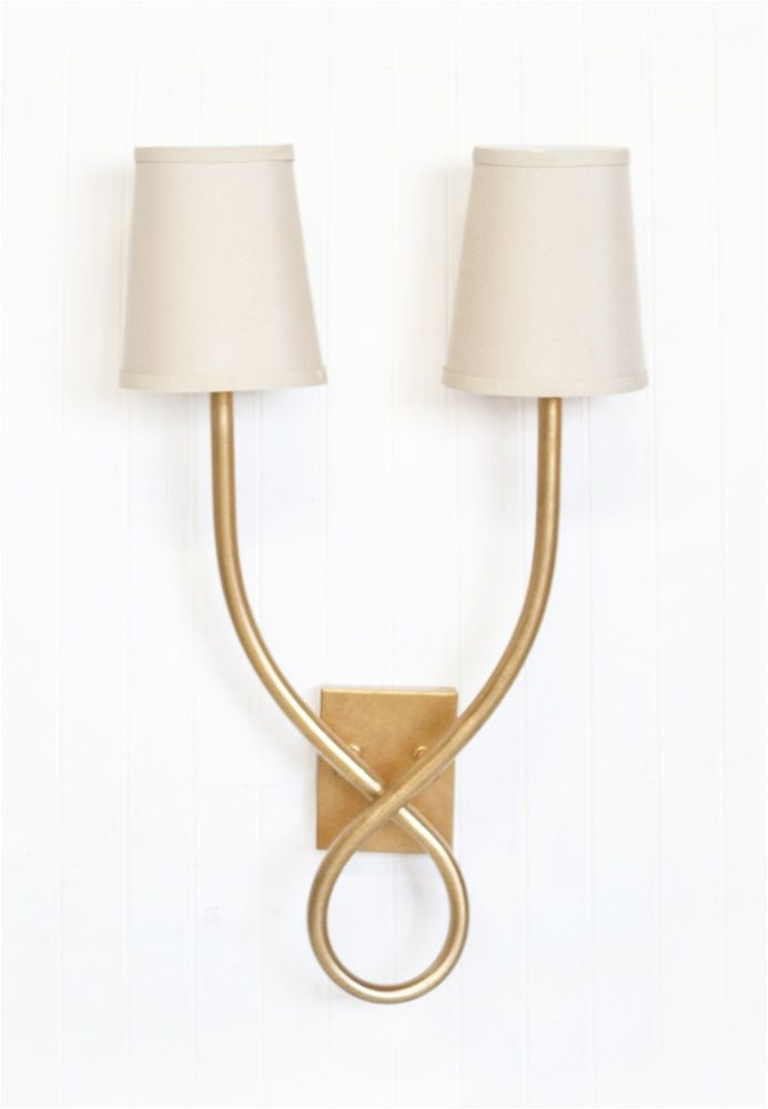 Hannah Two Arm Gold Leafed Wall Sconce with Taupe Oval Shades ...
