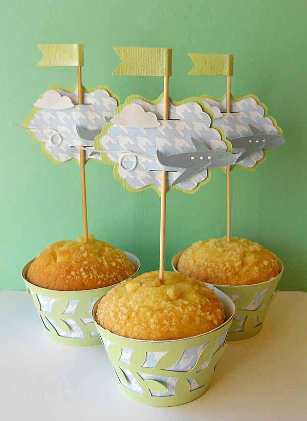 Airplane and cloud cupcake toppers made using the #Cricut Imagine machine and the cartridges: Baby Shower and Imagine Baby Boutique