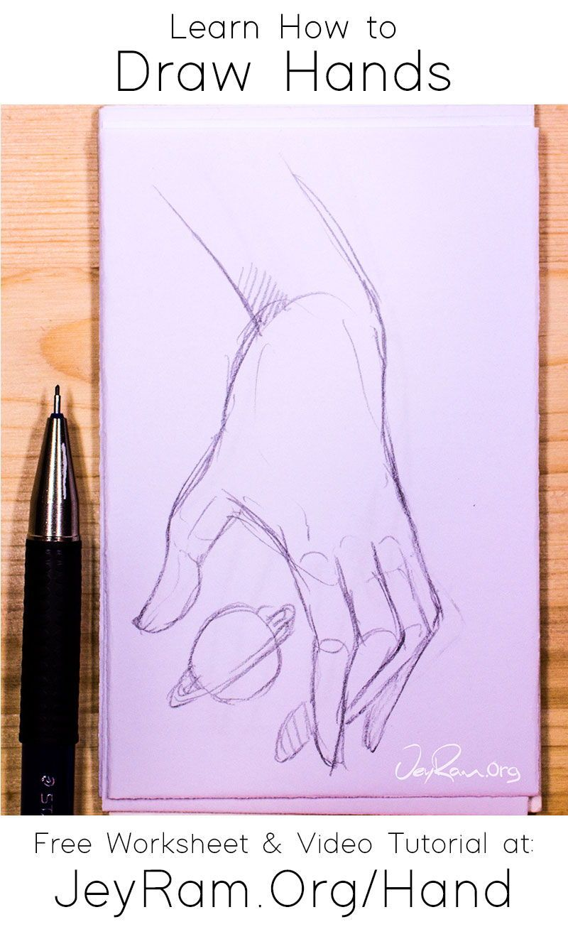 How To Draw Hands Free Worksheet Video Tutorial In 2020 How To Draw Hands Pencil Drawings For Beginners Hand Drawing Reference