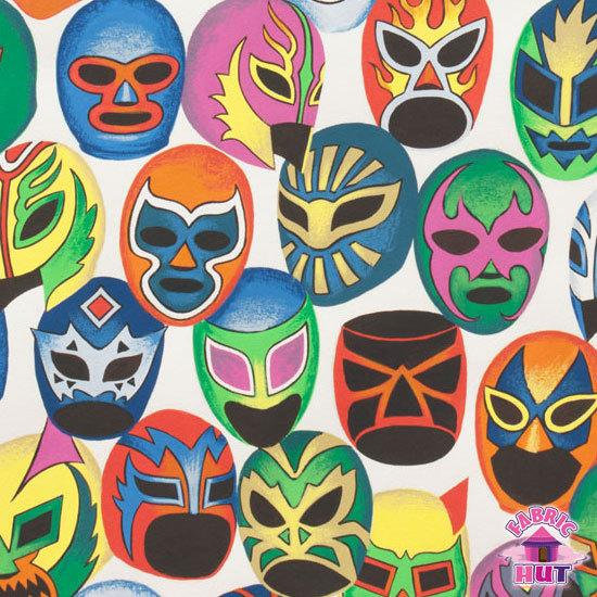 Alexander Henry Folklorico Super Lucha Libre Natural Wrestlers Fabric by Yard