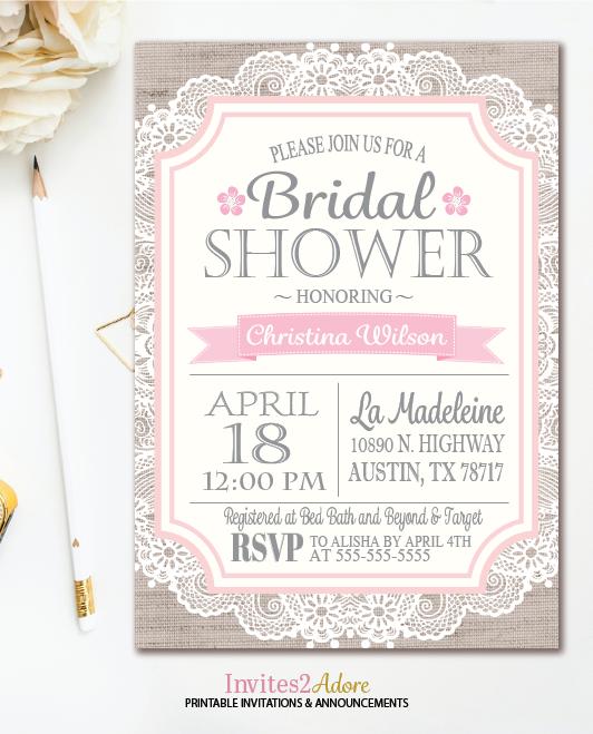 graphic regarding Bridal Shower Printable Invitations identify Burlap Purple Lace Bridal Shower Invitation - Shabby Stylish