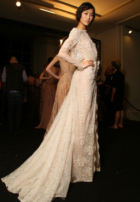 backstage at Elie Saab Fall 2011 Haute Couture