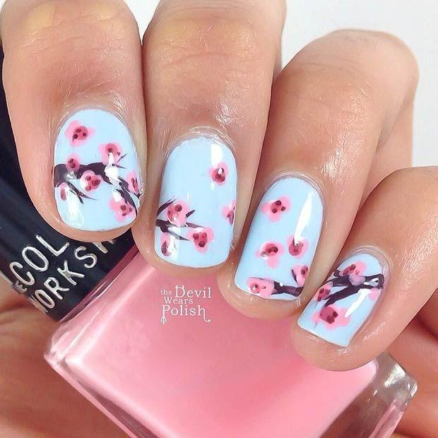 50 Flower Nail Designs for Spring. Cherry blossom ... - 50 Flower Nail Designs For Spring Cherry Blossom Nails, Flower