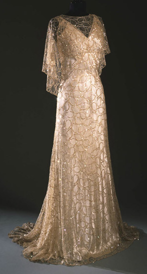 1933 Dress evening gown champagne gold beaded sequins 30s long sheer high fashion couture museum quality