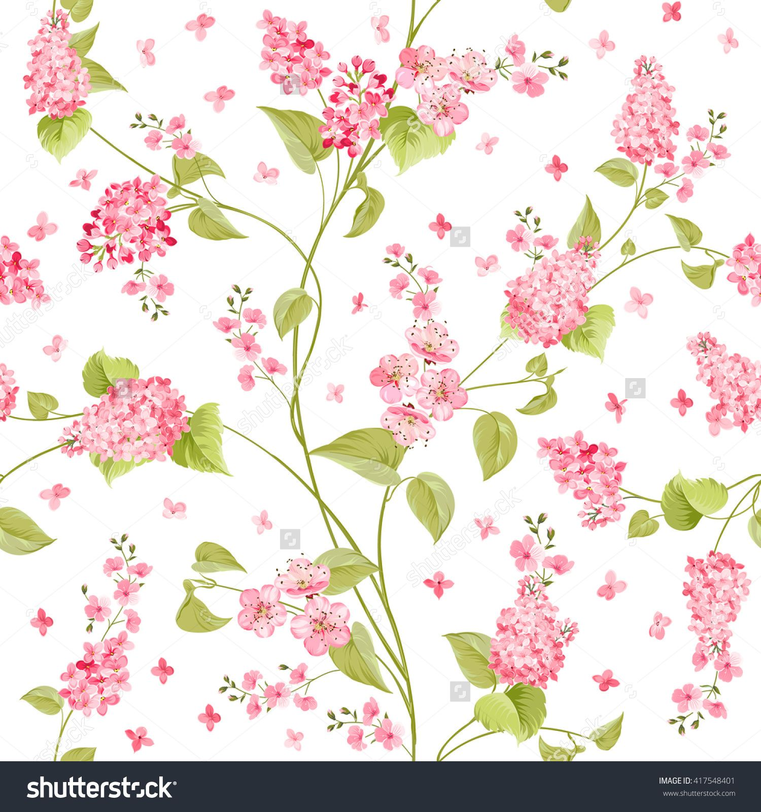 Fabric Texture Pattern With Seamless Flowers The Floral Over Light Background Flower Of Purple Hydrangea White