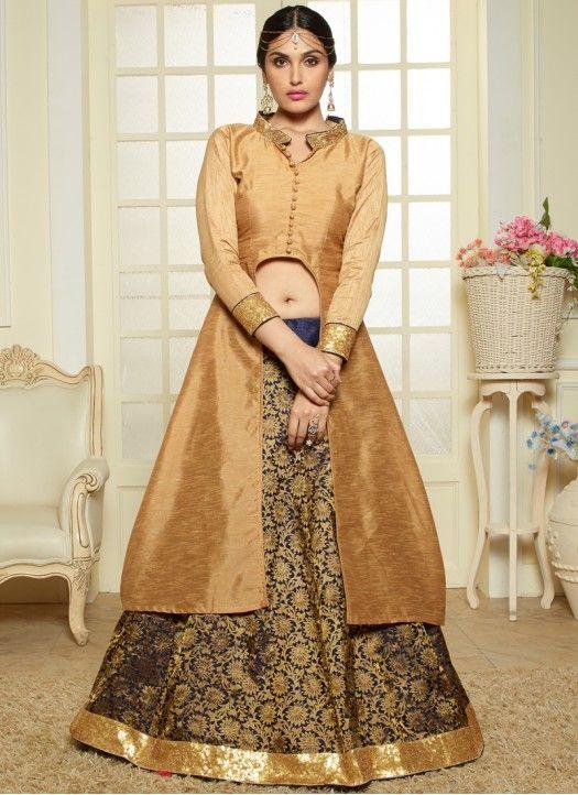 New Gold And Blue Banglori Designer Indo Western Wear | Designer ...