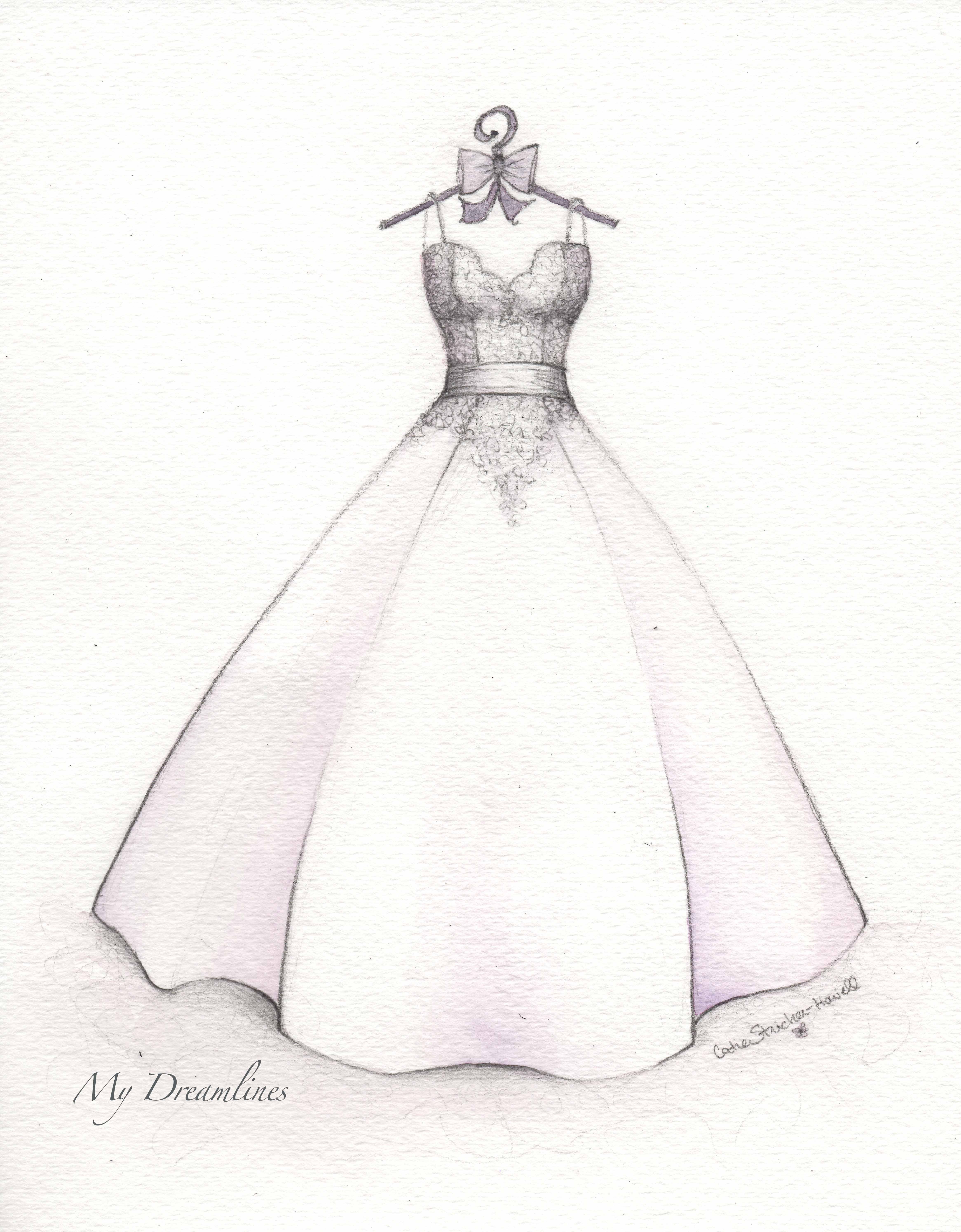 White dress drawing - First Anniversary Sketch Gift From The Husband To His Wife Sketch By Catie Stricker