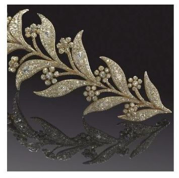 Made between 1800 and 1830, this tiara originally belonged to the Hon. Georgiana Eliza Stuart, Lady Blantyre, 1821-1904, third daughter of Robert Walter Stuart, 11th Lord Blantyre. It was sold via Bonham's on 27 September 2007, for a paltry £22,800
