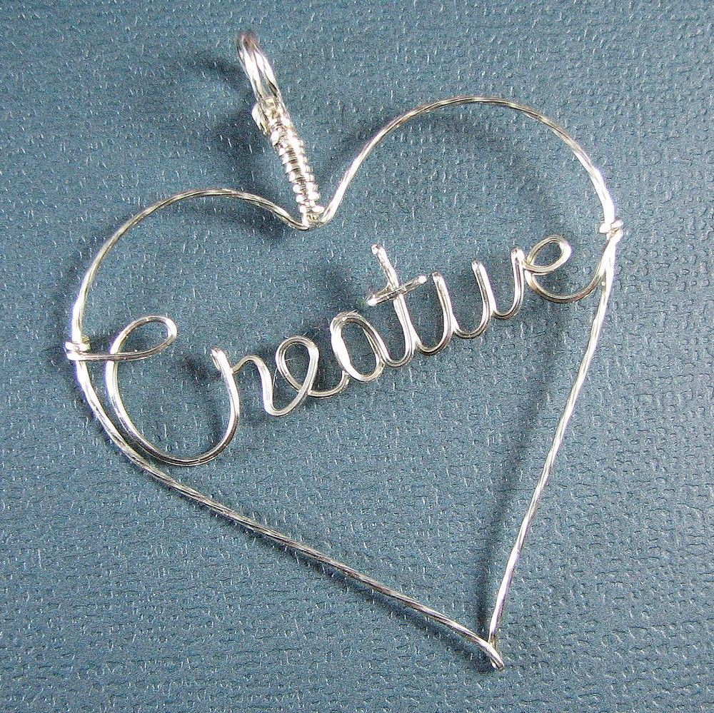 Wire Name or Word Sterling Silver Pendant Heart or Circle ...   Wire ...