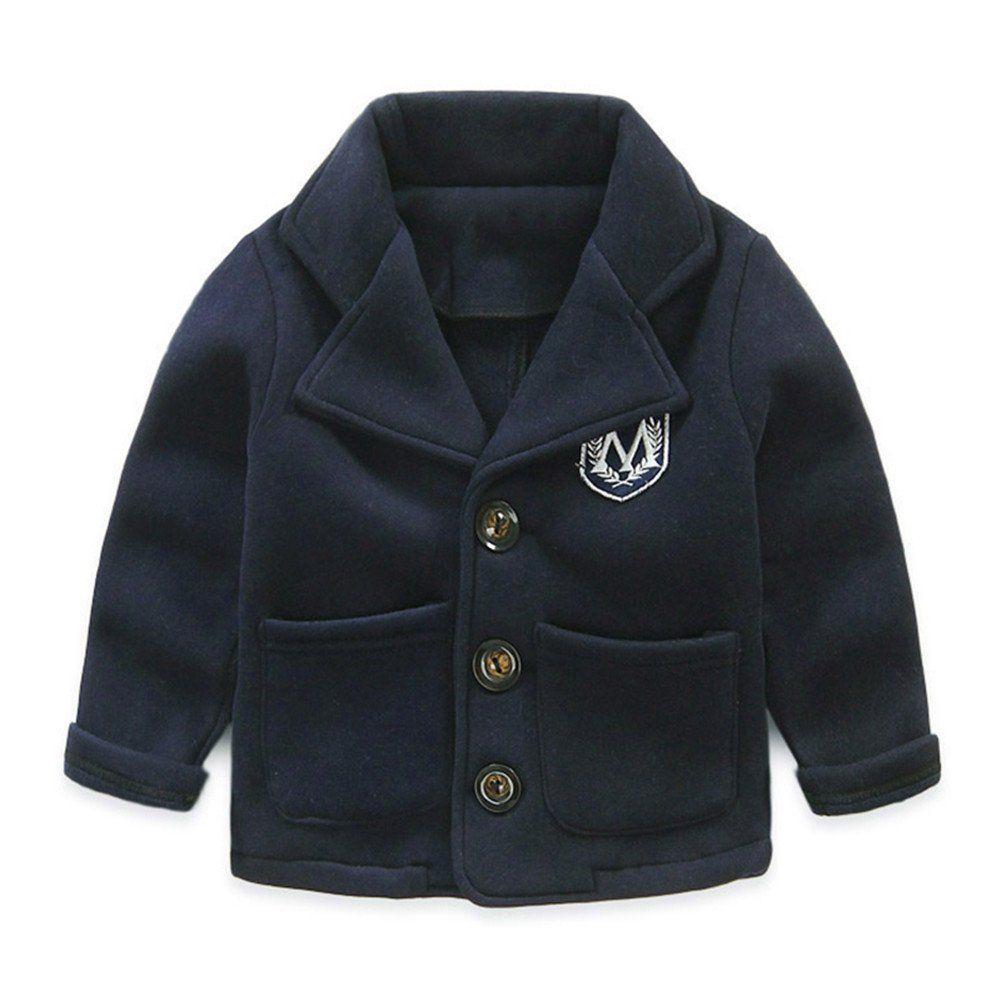 857f0d095971 Mud Kingdom Boys  Lapel Fleece Dress Coats 5T Navy Blue. Napped ...