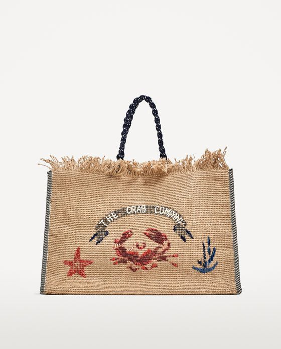 Image 2 of EMBROIDERED JUTE TOTE BAG from Zara | SUMMER 18 BEACH ...