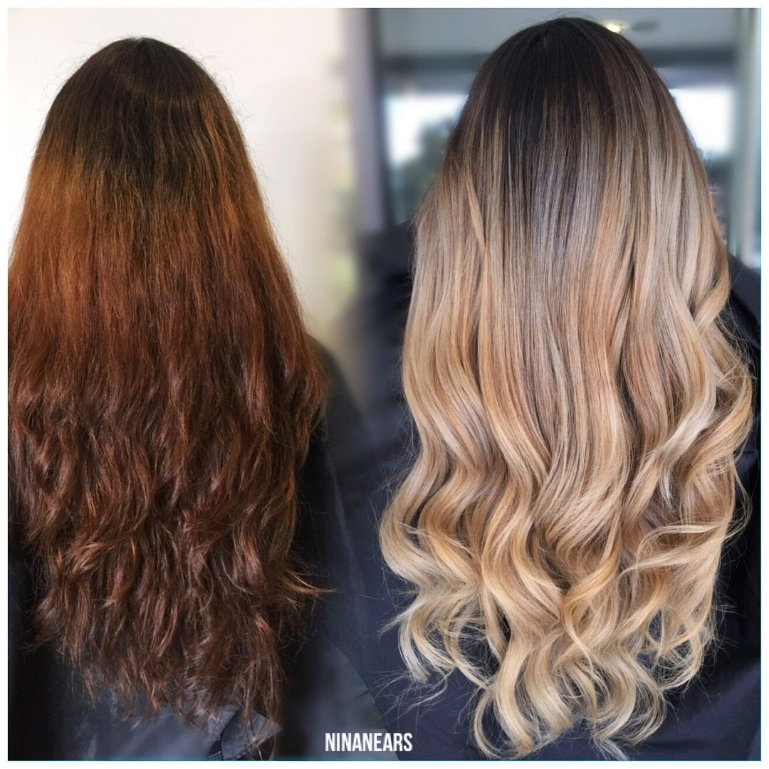 Before And After Hair Transformation Balayage Using F18 And