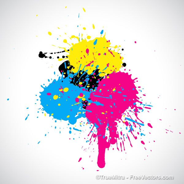 Download Free Cmyk Paint Splashes Vector Illustration Paint
