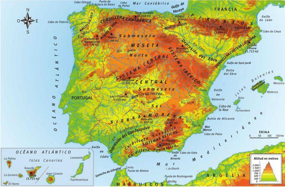 Mapa Relieve De España.Resultado De Imagen De Relieve Y Rios De Espana Rios De