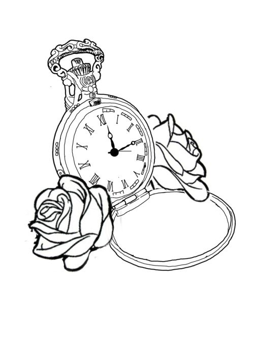 Pocket Watch Tattoo Drawing Outline Sketch Coloring Page