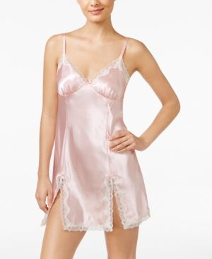 Thalia Sodi Lace-Trimmed Slit-Hem Chemise, Only at Macy's  - Pink XXL