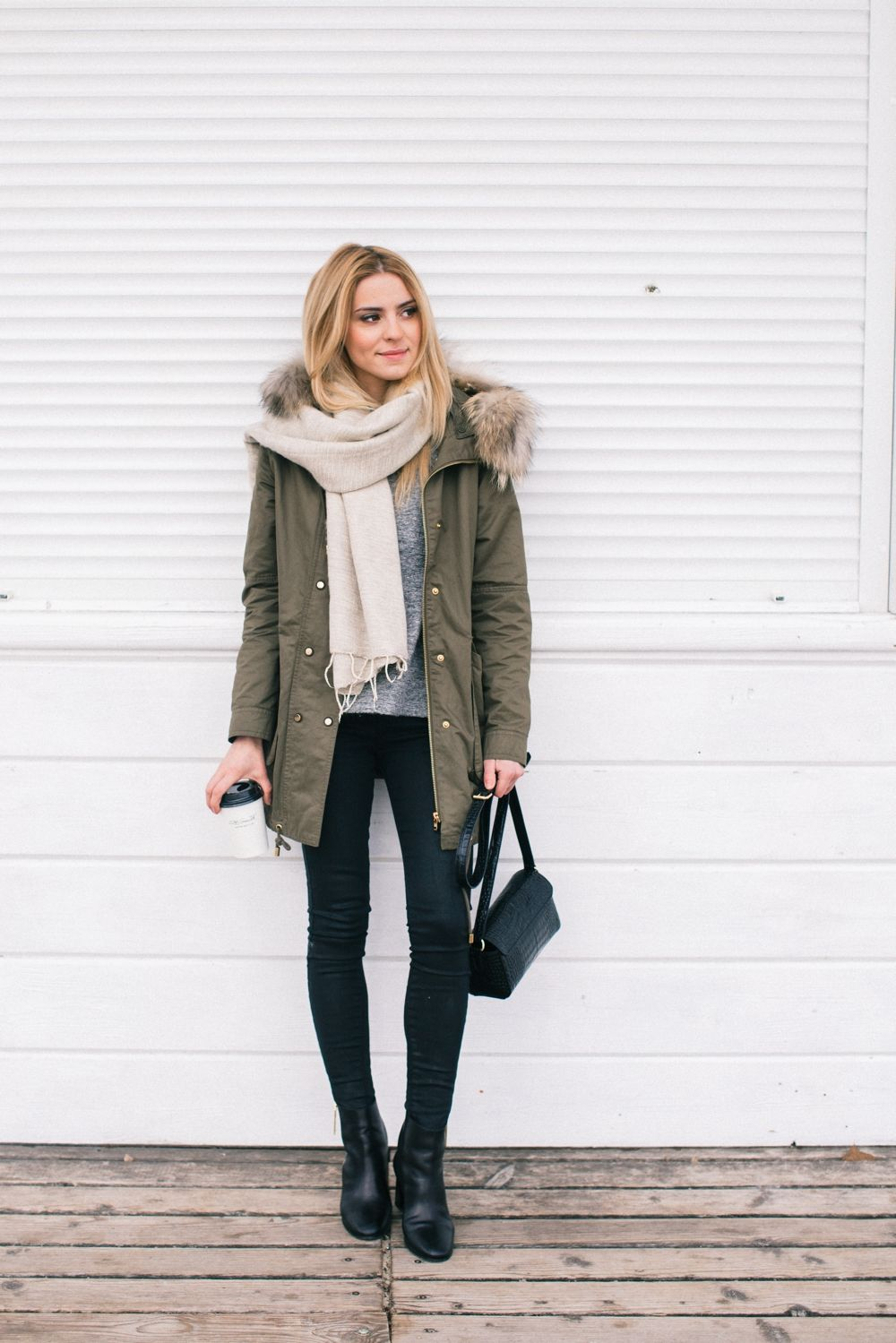 Winter style idea. Parka jacket, grey sweater, black jeans