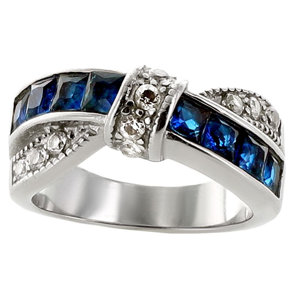 Blue Ribbon Cross Over Style Blue Glass White Cubic Zirconia Stainless Steel Ring Titanium Jewelry Stainless Steel Rings Blue Rings