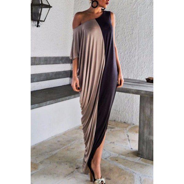 $13.65 Fashionable Skew Neck Color Block Half Sleeve Maxi Dress For Women