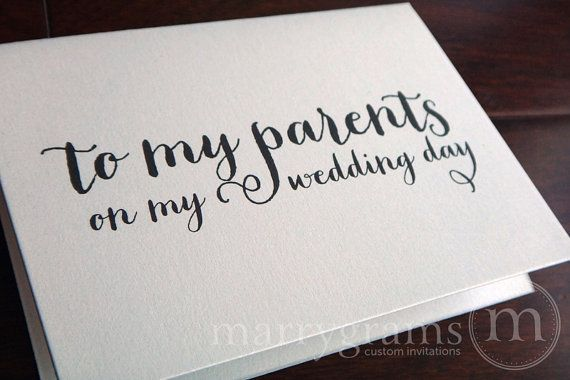 Bride Gifts From Groom On Wedding Day: Sentimental Wedding Card To Your Mother Or Father