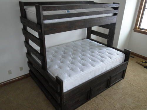 Twin Over Queen Bunk Bed I D Turn The Top Bunk Into Storage Space 3 Bunk Bed Plans Bed Plans Queen Bunk Beds