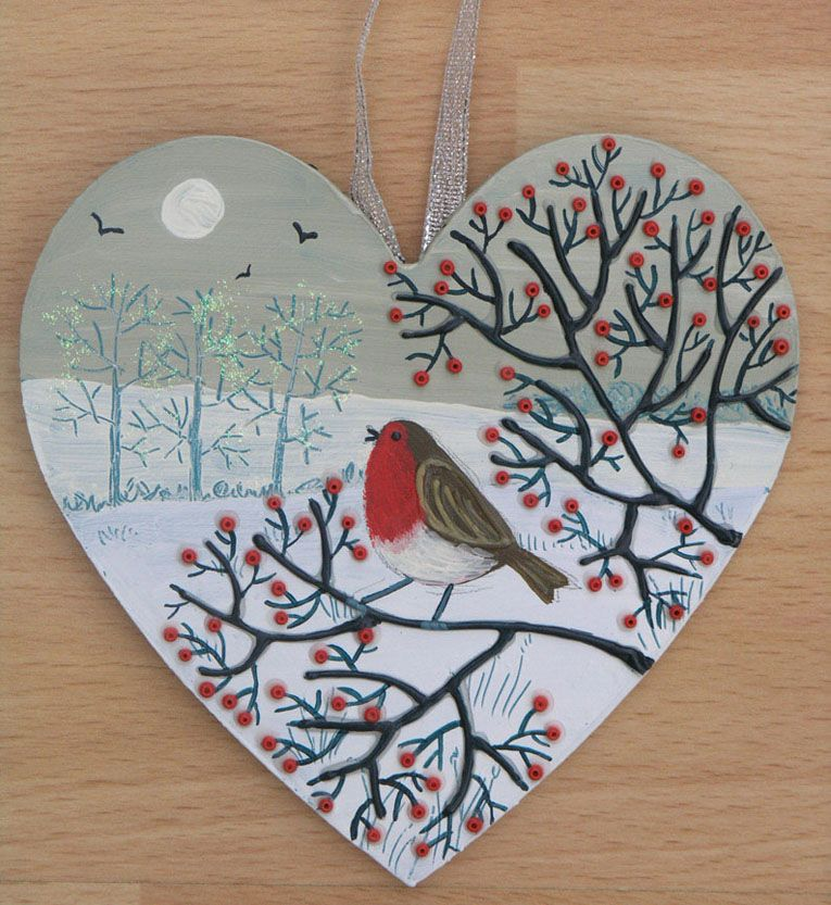 Robin S Song Mixed Media On A Small Wooden Heart Sold Wooden Hearts Crafts Christmas Craft Fair Wooden Hearts