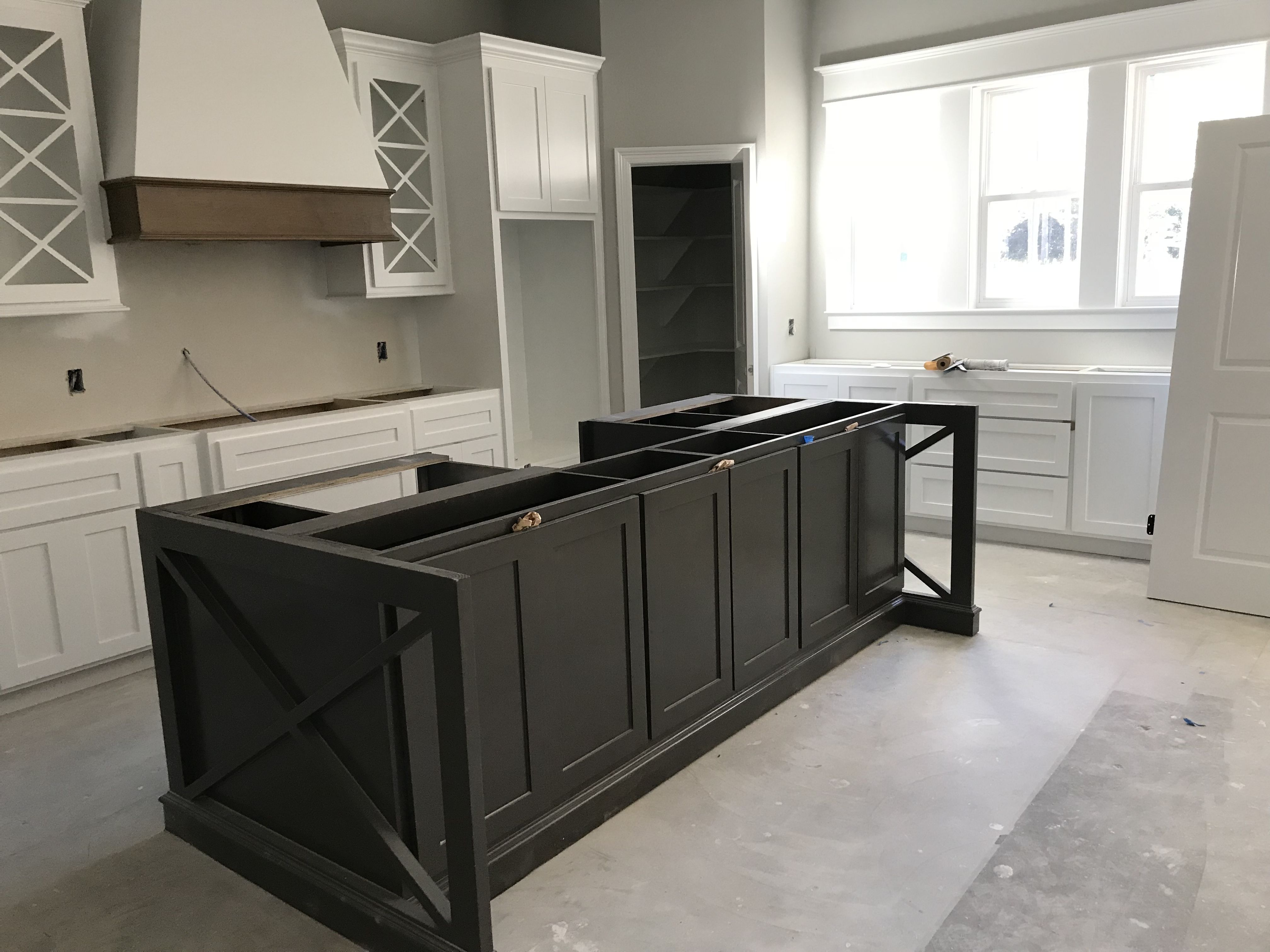 Black Fox Island Extra White Cabinets Repose Grey Walls