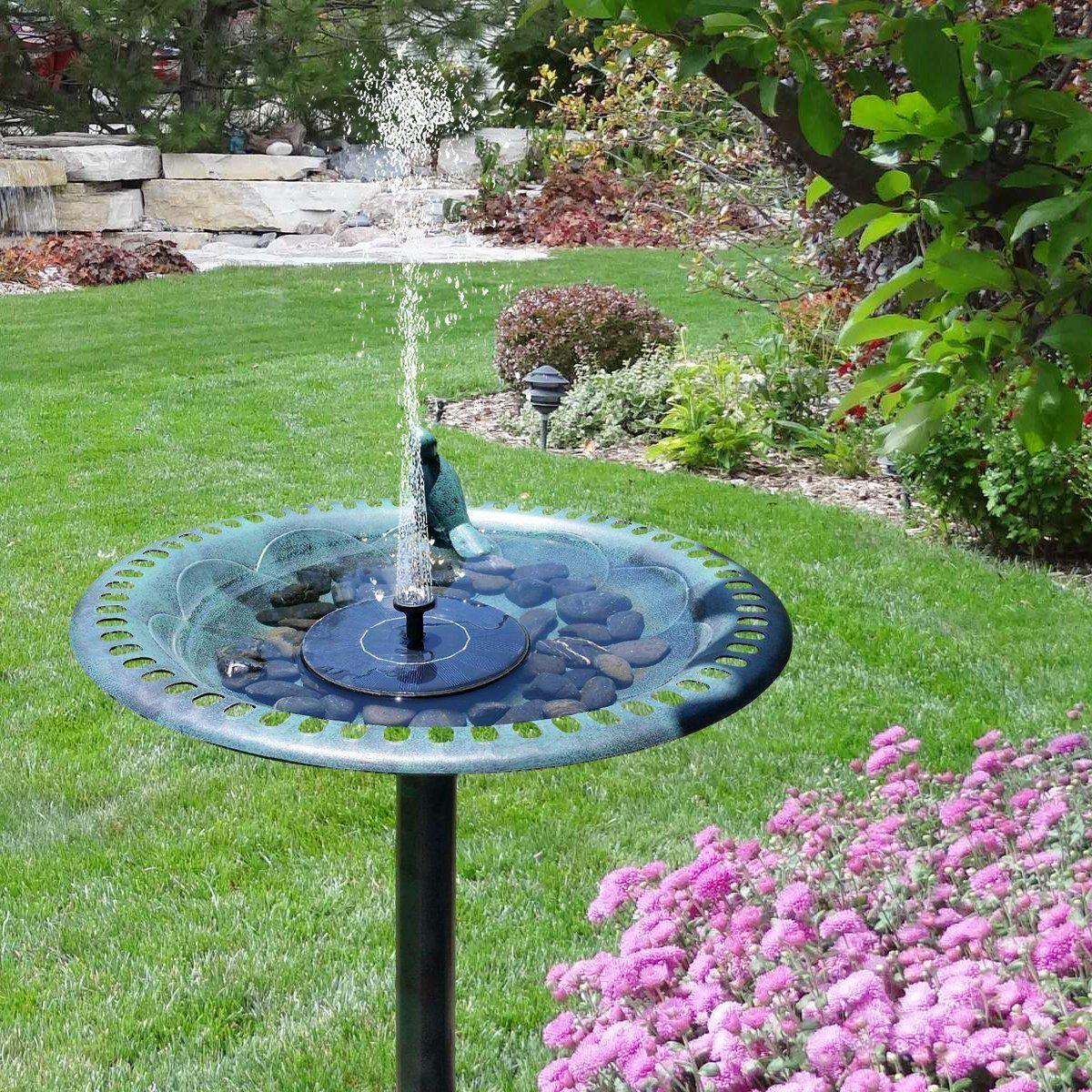 Solar Powered Bird Bath Fountain Pump Outdoor Watering Submersible ...