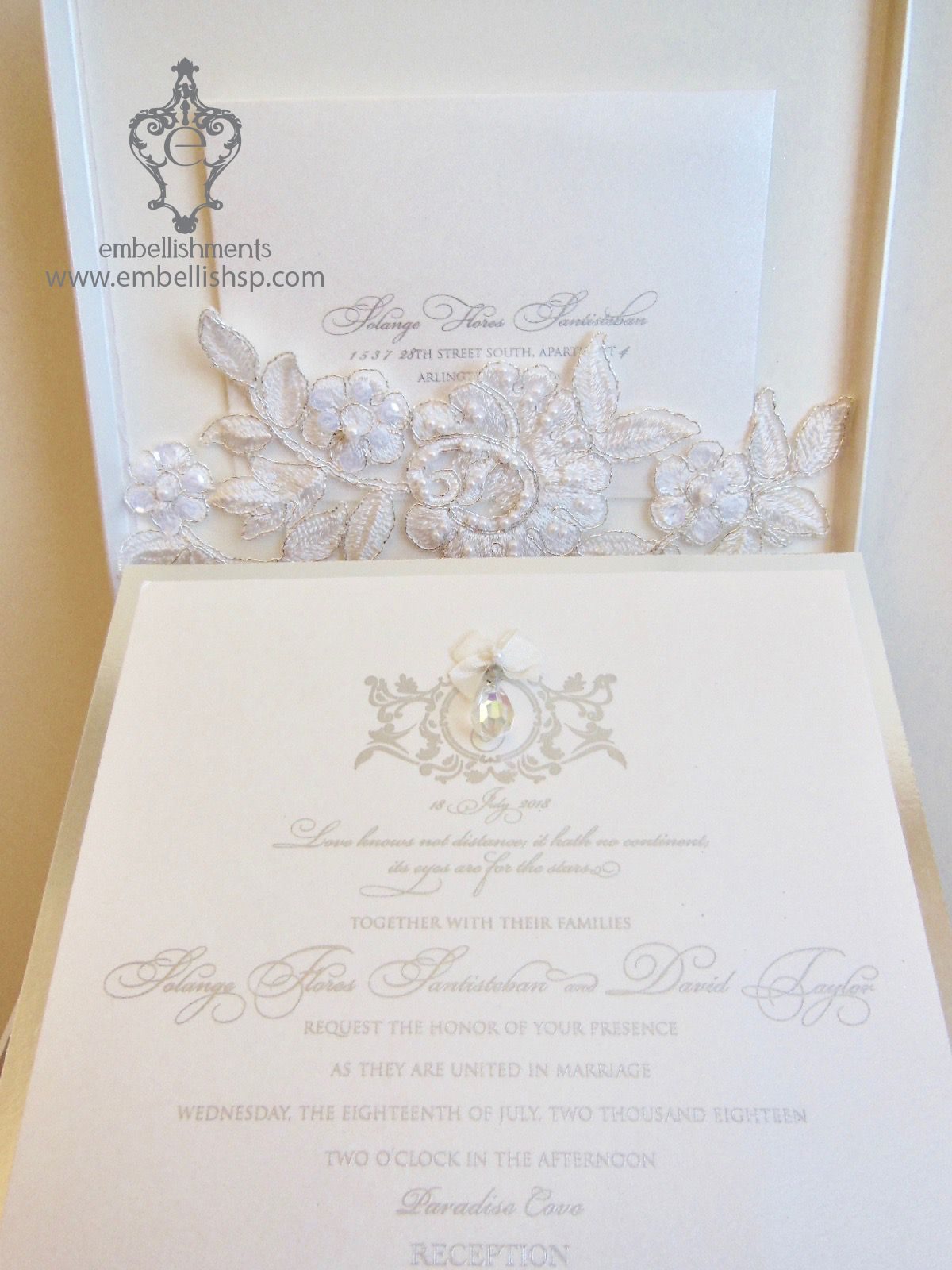 Versailles Wedding Invitation in silver and ivory lace box with ...