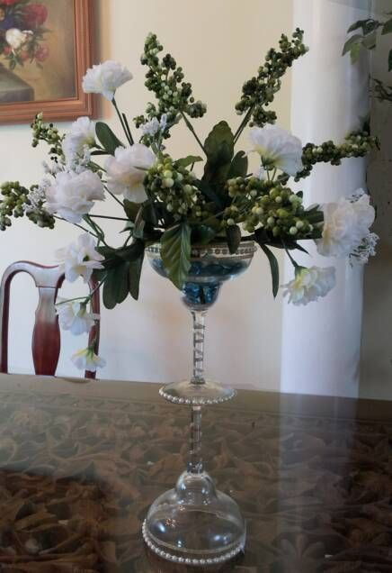 Martini Glass Centerpieces Martini Glass Pearl Centerpiece I Made