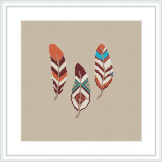 Feather Cross Stitch Pattern Wall Decor Feather Decor Bohemian ...