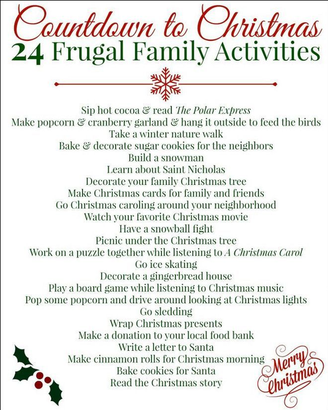 Countdown To Christmas Activities Fun Activities To Do Before Christmas Frugal Home School Family Christmas Bucket Christmas Countdown Christmas Music