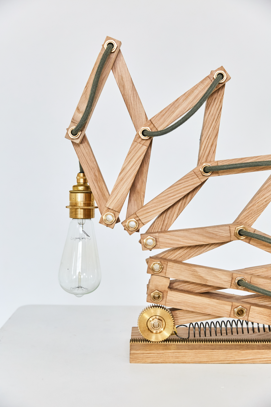 The Crane Lamp is a playful, movable light by London-based design studio Animaro. The lamp changes dramatically in height and shape, with a form inspired by the shape of a Crane bird extending its neck to catch prey. At a time when so many mechanical devices are being replaced by