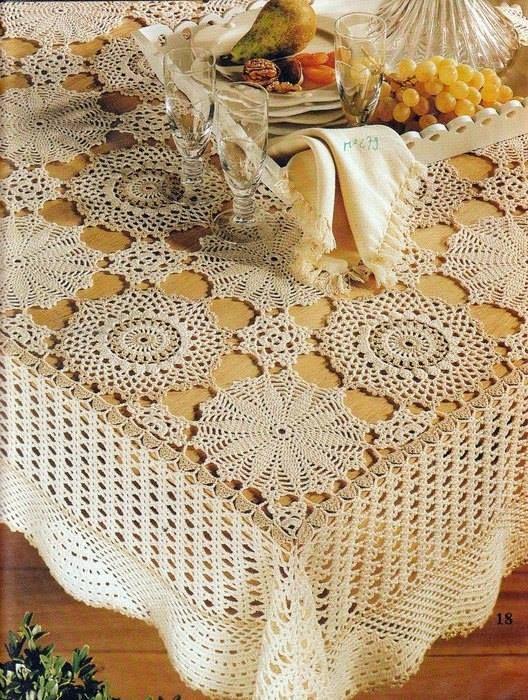 Tantissimi schemi di tovaglie a uncinetto crochet for Pizzi uncinetto per tovaglie