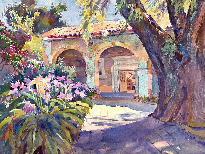 The Old Pepper Tree San Juan Capistrano Watercolor City Arches