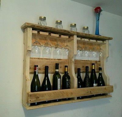 Mobile cantinetta pallet porta bottiglie e porta calici 8 posti artigianale reusepalletart - Porta bottiglie ...