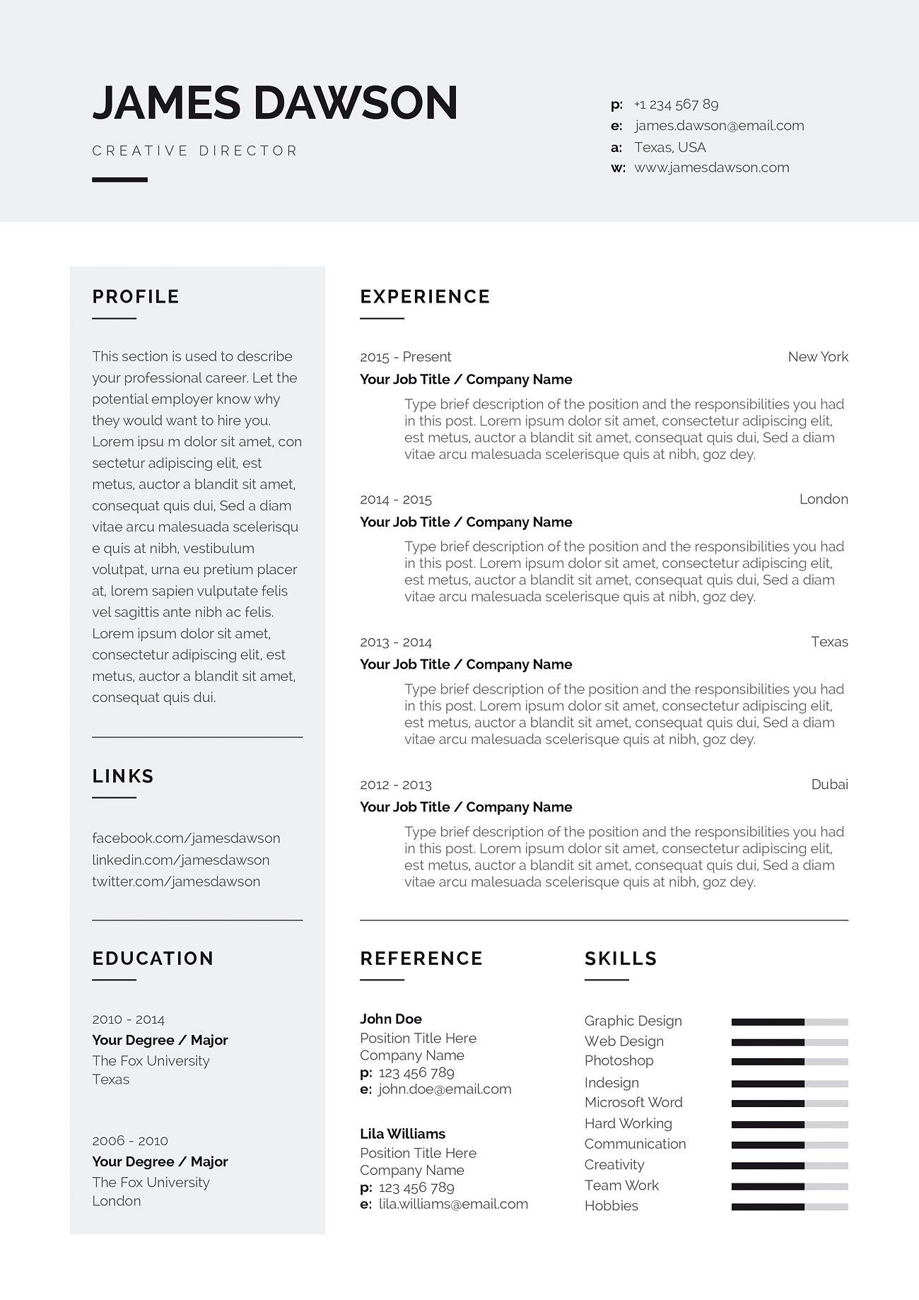 Professional Feminine Resume Template One And Two Page Template