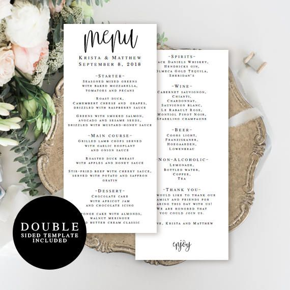 Wedding Menu Template Double Sided Editable Menu Card Wedding