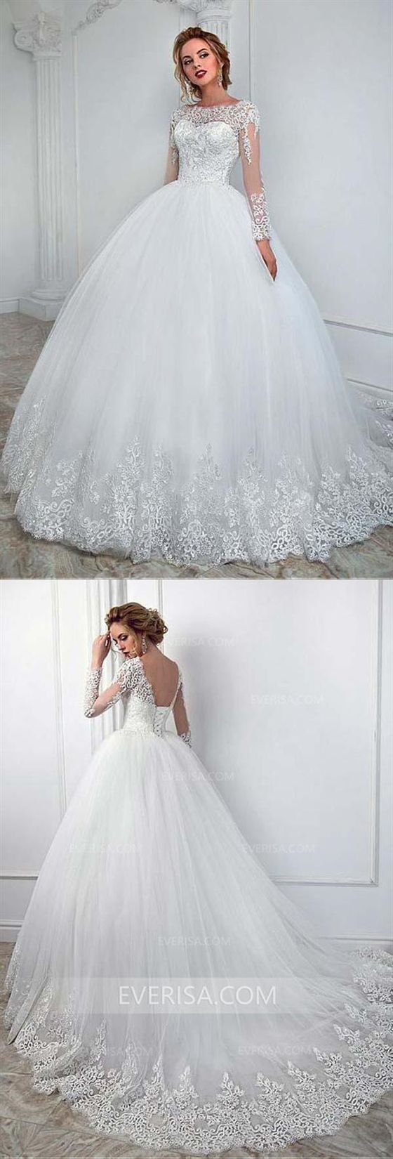 1df8ca25e18 High Quality White Long Sleeves Backless Tulle Wedding Dress Lace Bridal  Gowns  wedding  white