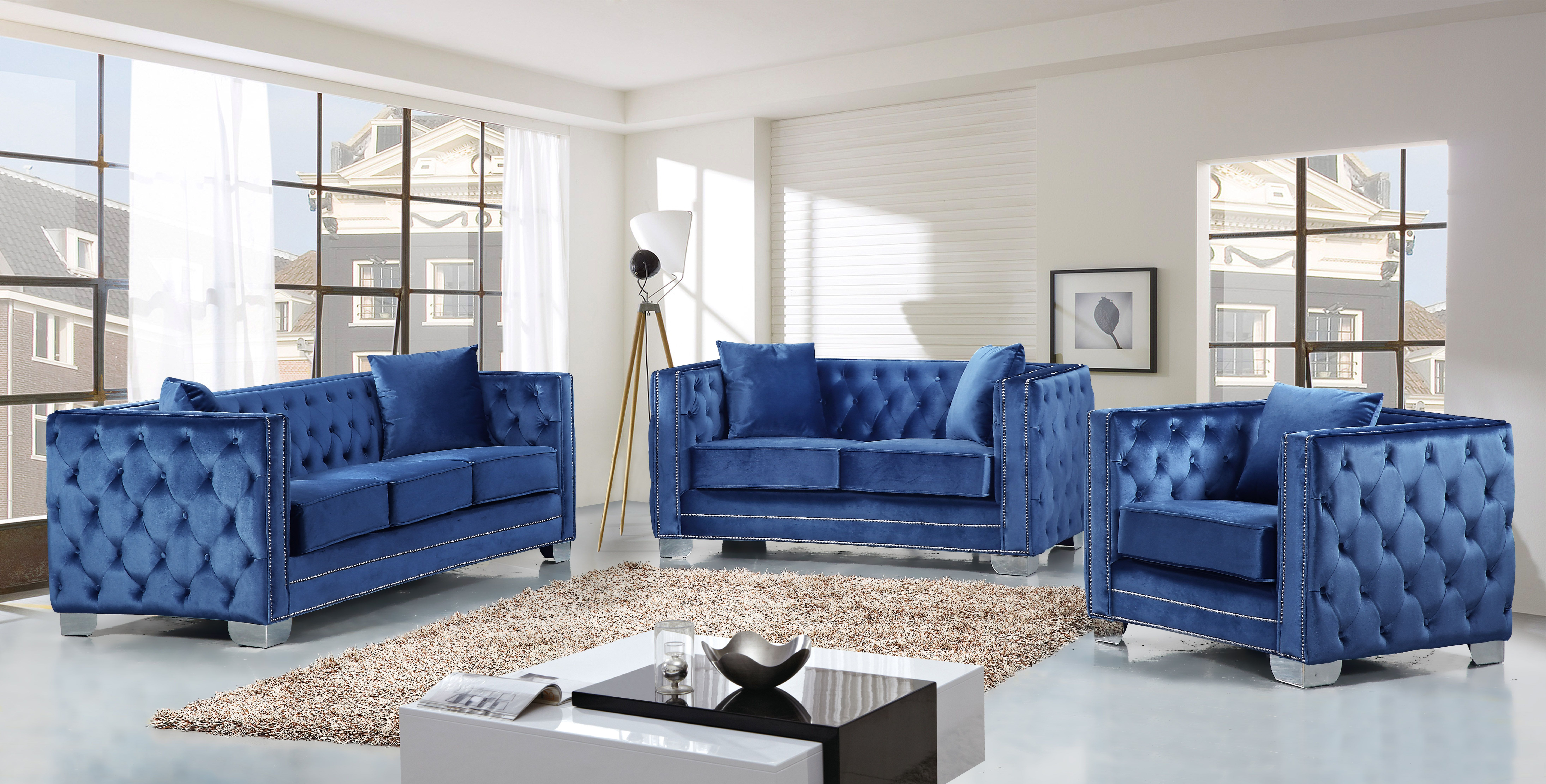 Reese Light Blue Velvet Living Room Set Rich Covers The Plush Comfortable Seat Padded With High Density Foam And Modern Tufted Design On Back