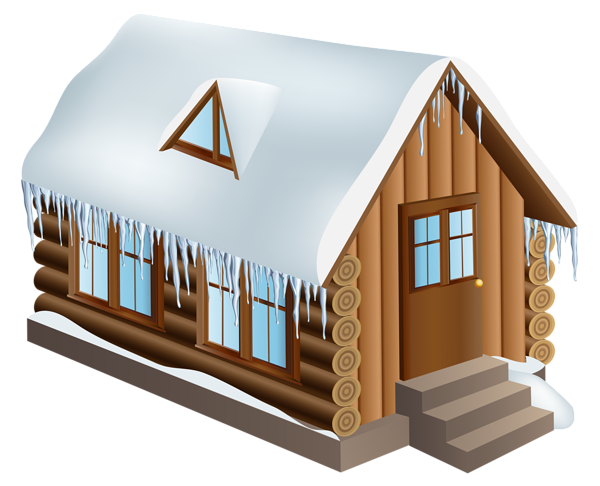 Winter Cabin House PNG Clip Art Image