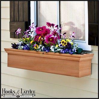 Newport Cedar Window Box With Optional Liner Wooden Flower Boxes Flower Boxes Wooden Window Boxes